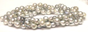 Unusual pale silver to dark grey akoya pearls